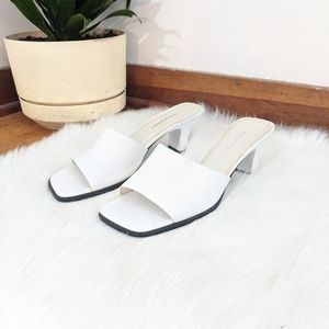Vtg 90s White Faux Leather Square Toe Block Heels